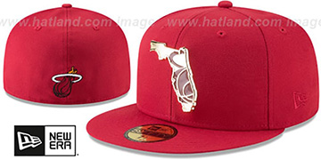 Heat GOLD STATED METAL-BADGE Red Fitted Hat by New Era