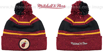 Heat 'HWC SPECKLED' Burgundy-Black Knit Beanie by Mitchell and Ness