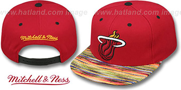 Heat KNIT-WEAVE SNAPBACK Red-Multi Hat by Mitchell and Ness