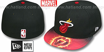 Heat MARVEL-X-NBA CHARACTER Black Fitted Hat by New Era
