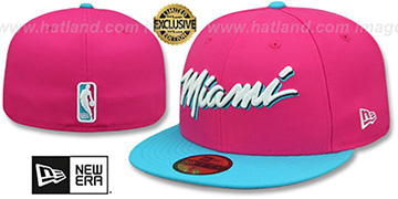 Heat 'MIAMI-VICE' Beetroot-Blue Fitted Hat by New Era