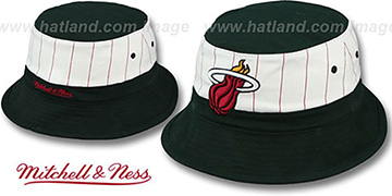 Heat MID-PINSTRIPE BUCKET Black-White Hat by Mitchell and Ness