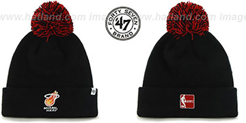 Heat 'POMPOM CUFF' Black Knit Beanie Hat by Twins 47 Brand