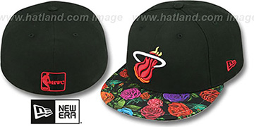 Heat 'REAL FLORAL VIZA-PRINT' Black Fitted Hat by New Era