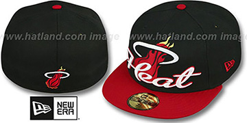 Heat 'SCRIPT-PUNCH' Black-Red Fitted Hat by New Era