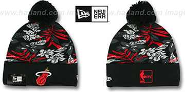 Heat 'SNOW-TROPICS' Black Knit Beanie Hat by New Era