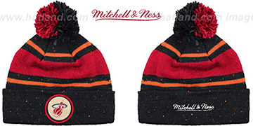 Heat 'SPECKLED' Black-Red Knit Beanie by Mitchell and Ness