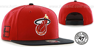 Heat 'SURE-SHOT SNAPBACK' Red-Black Hat by Twins 47 Brand