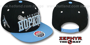Hopkins LACROSSE SUPER-ARCH SNAPBACK Black-Sky Hat by Zephyr