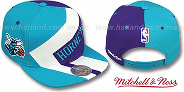 Hornets '1-ON-1 SNAPBACK' Teal-White-Purple Hat by Mitchell and Ness