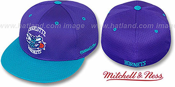 Hornets '2T BP-MESH' Purple-Teal Fitted Hat by Mitchell & Ness