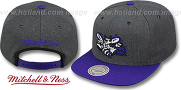 Hornets 2T-HEATHER SNAPBACK Grey-Purple Hat by Mitchell & Ness