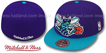 Hornets 2T XL-LOGO Purple-Teal Fitted Hat by Mitchell & Ness