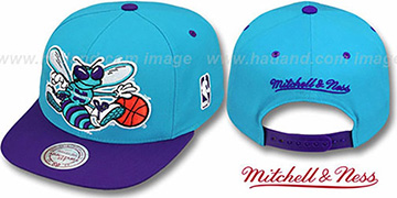 Hornets '2T XL-LOGO SNAPBACK' Teal-Purple Adjustable Hat by Mitchell & Ness