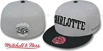 Hornets 2T XL-WORDMARK Grey-Black Fitted Hat by Mitchell & Ness