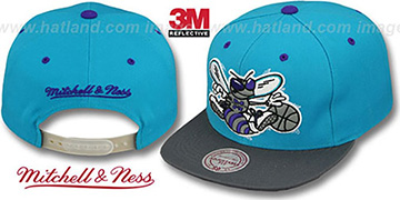 Hornets '3M XL-LOGO SNAPBACK' Teal-Grey Hat by Mitchell & Ness