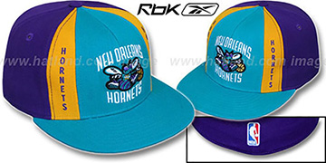 Hornets AJD PINWHEEL Teal-Purple Fitted Hat by Reebok