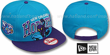Hornets CHALK-UP HERO SNAPBACK Teal-Purple Hat by New Era