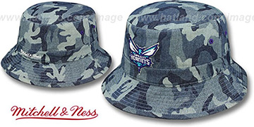 Hornets DENIM-CAMO BUCKET Blue Hat by Mitchell and Ness