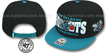Hornets 'FIRST CLASS SNAPBACK' Black-Teal Hat by Twins 47 Brand