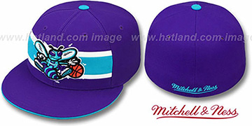 Hornets HARDWOOD TIMEOUT Purple Fitted Hat by Mitchell & Ness