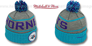 Hornets HIGH-5 CIRCLE BEANIE Grey-Teal by Mitchell and Ness