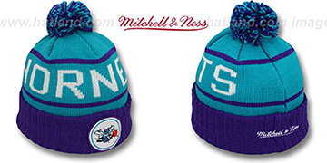 Hornets HIGH-5 CIRCLE BEANIE Teal-Purple by Mitchell and Ness