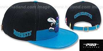 Hornets HORIZON STRAPBACK Black-Teal Hat by Pro Standard