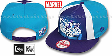 Hornets 'MARVEL RETRO-SLICE SNAPBACK' Teal-Purple Hat by New Era