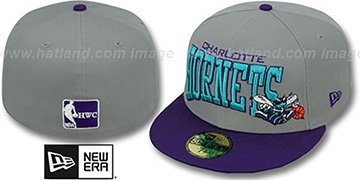 Hornets PRO-ARCH Grey-Purple Fitted Hat by New Era