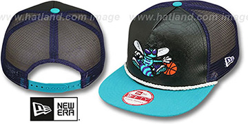 Hornets 'SNAKE A-FRAME SNAPBACK' Black-Teal Hat by New Era