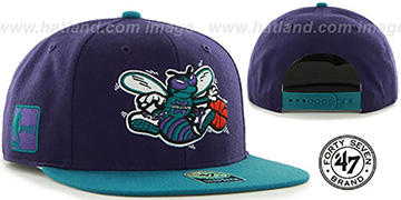 Hornets SURE-SHOT SNAPBACK Purple-Teal Hat by Twins 47 Brand