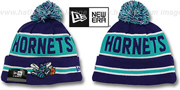 Hornets THE-COACH Purple Knit Beanie Hat by New Era