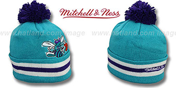 Hornets XL-LOGO BEANIE Teal by Mitchell and Ness