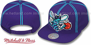 Hornets 'XL-LOGO SOUTACHE SNAPBACK' Purple Adjustable Hat by Mitchell & Ness
