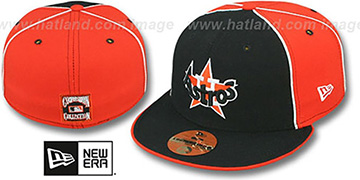 Houston Astros COOP DECEPTOR-2 PINWHEEL Navy-Orange Fitted Hat