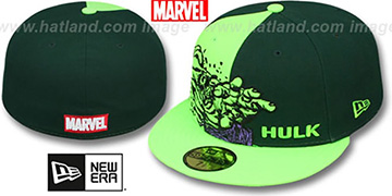 Hulk 'PANEL-POP' Green-Lime Fitted Hat by New Era