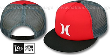 Hurley 'COLOR BLOCK SNAPBACK' Red-Black-Grey Trucker Hat