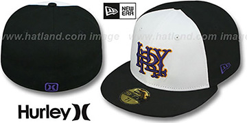 Hurley 'MAJOR LEAGUES' White-Black Fitted Hat by New Era