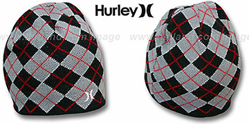 Hurley 'MISPRINTED' Black Reversible Knit Beanie Hat