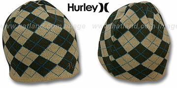 Hurley 'MISPRINTED' Brown Reversible Knit Beanie Hat