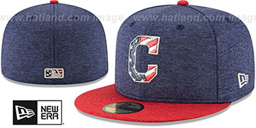 Indians '2017 JULY 4TH STARS N STRIPES' Fitted Hat by New Era