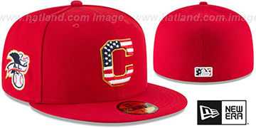 Indians 2018 JULY 4TH STARS N STRIPES Red Fitted Hat by New Era