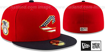 Indians 2019 JULY 4TH STARS N STRIPES Fitted Hat by New Era