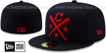 Indians 2019 MLB ALL-STAR ALTERNATE WORKOUT Navy Fitted Hat by New Era