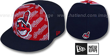 Indians 'ANGLEBAR' Navy-Red Fitted Hat by New Era