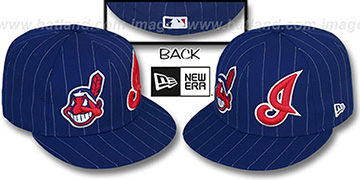 Indians 'BIG-ONE DOUBLE WHAMMY' Navy-White Fitted Hat