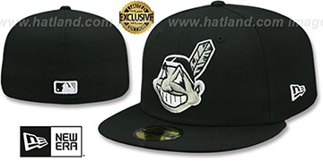 Indians CHIEF-WAHOO Black-Grey-White Fitted Hat by New Era