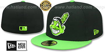 Indians CHIEF-WAHOO Black-Lime Fitted Hat by New Era