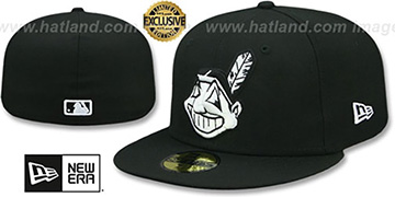 Indians CHIEF-WAHOO Black-White Fitted Hat by New Era